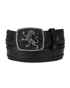 Cuadra Genuine Ostrich Leather Black Belt CV9A4BA