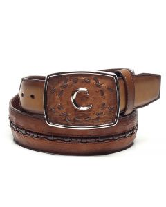 Cuadra Ostrich Belt CV394AB Flame Honey