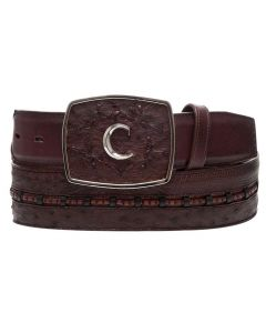 Cuadra Genuine Ostrich Belly Belt CV394AB Kango Tabaco