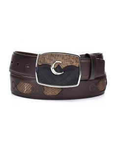 Cuadra Men's Python Belt Honey Mud CVQW4PH-FM