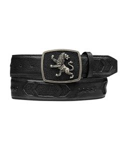 Cuadra Stingray Black Belt with Lion Buckle CCBM4MA